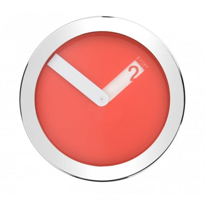 Istra London Stainless Steel Case Wall Clock - Red