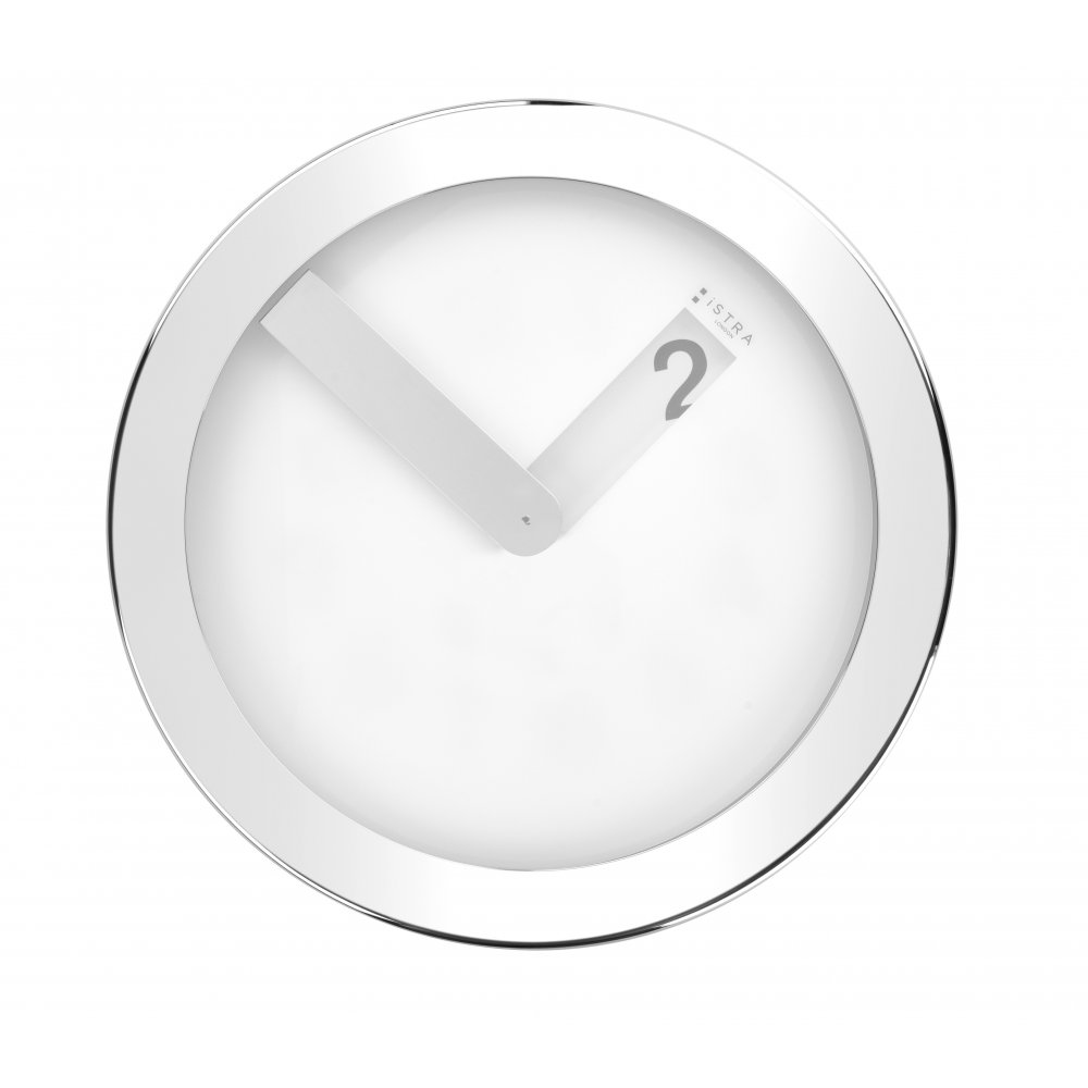 istra london stainless steel case wall clock  white  black by design - stainless steel case wall clock  white