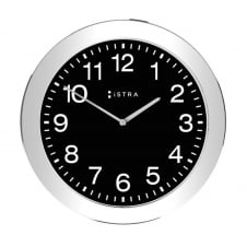 Wall Clock White/Stainless Steel - 30cm - Black