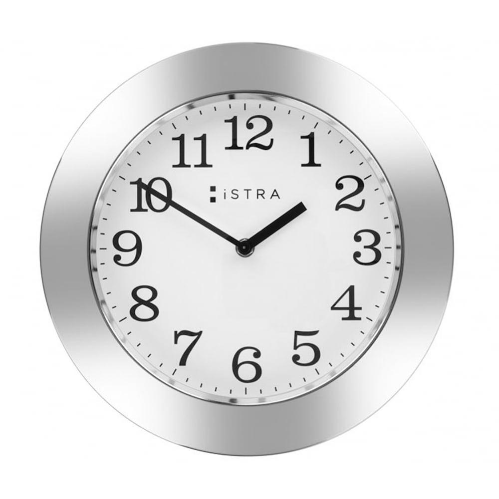 istra london whitestainless steel wall clock  cm  black by design - wall clock whitestainless steel cm