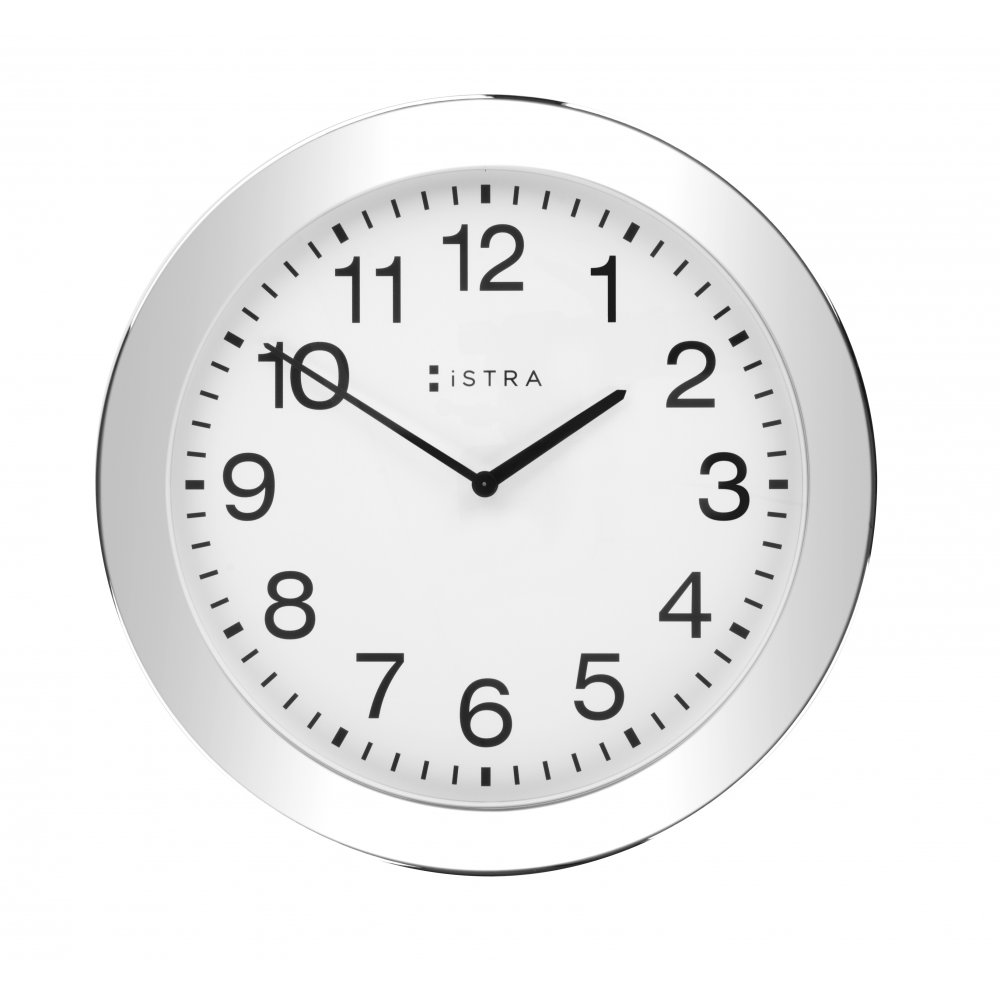 Istra London White Stainless Steel Wall Clock 30cm