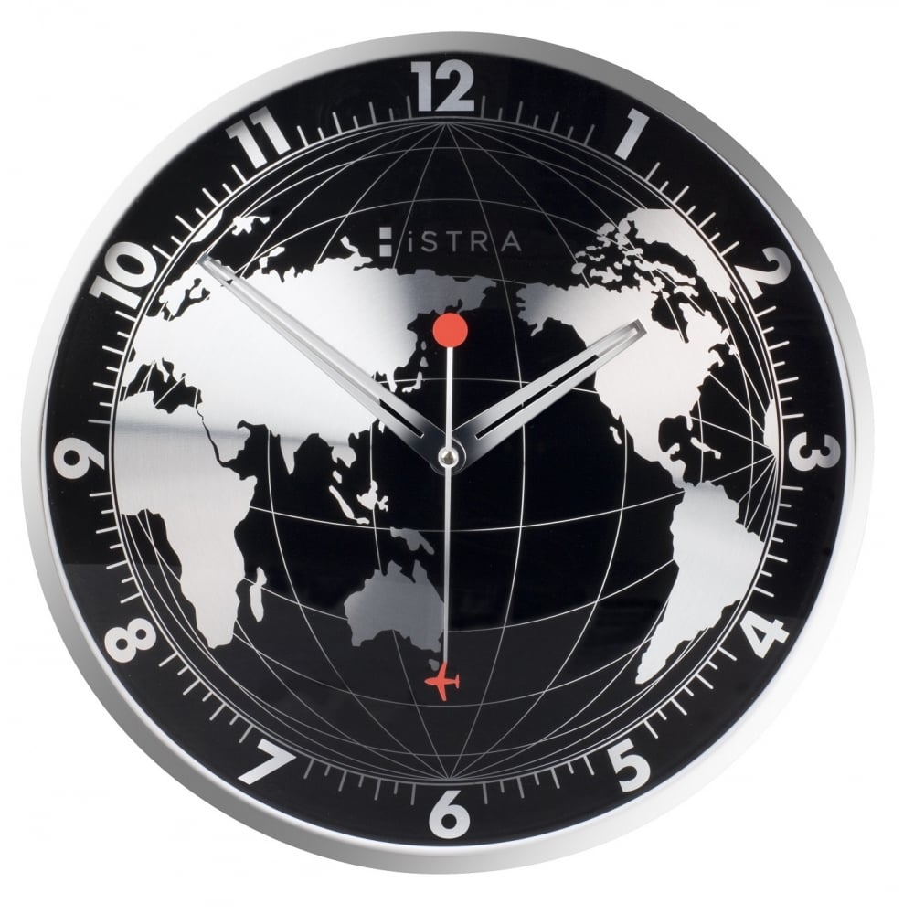 Buy World Map Clock. World Map Wall Clock  Black Istra London by Design