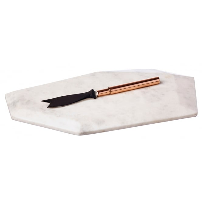 Just Slate Faceted Marble Chopping Board with Copper Fruit Knife