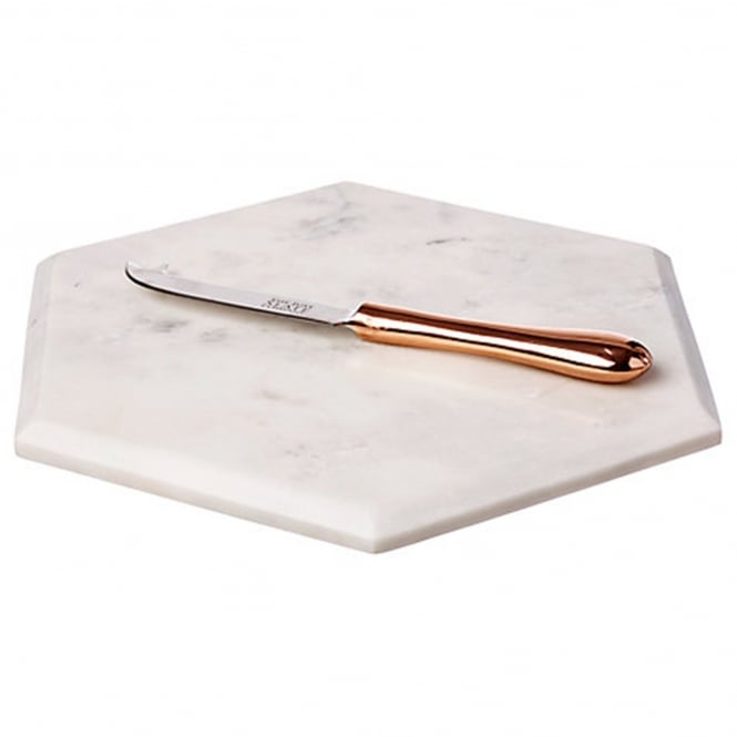 Just Slate Marble Hexagonal Cheese Board with Copper Cheese Knife
