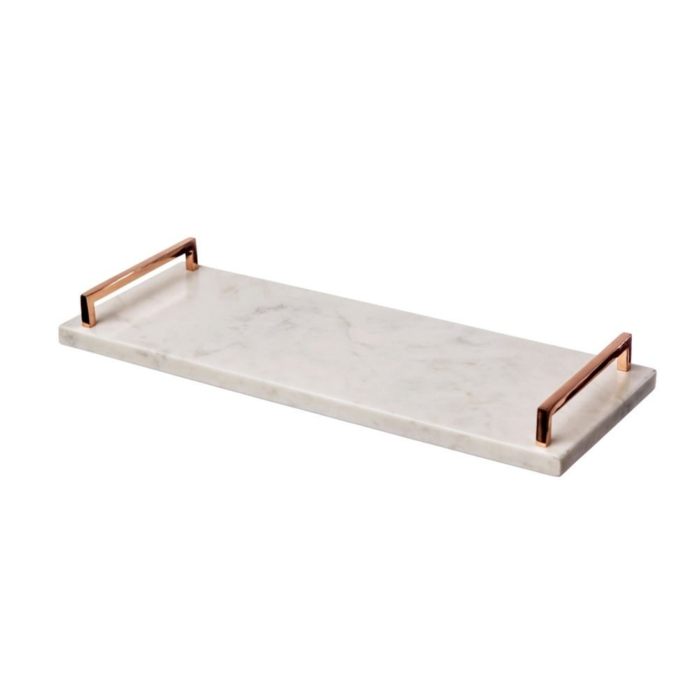 Just Slate Marble Serving Tray With Copper Handles Black