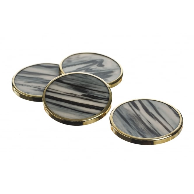 Just Slate Set of 4 Gold Trim Horn Coasters