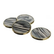 Set of 4 Gold Trim Horn Coasters