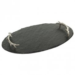 Slate Oval Serving Tray with Antler Handles