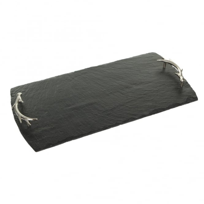 Just Slate Slate Serving Tray with Antler Handles - Large