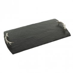 Slate Serving Tray with Antler Handles - Large