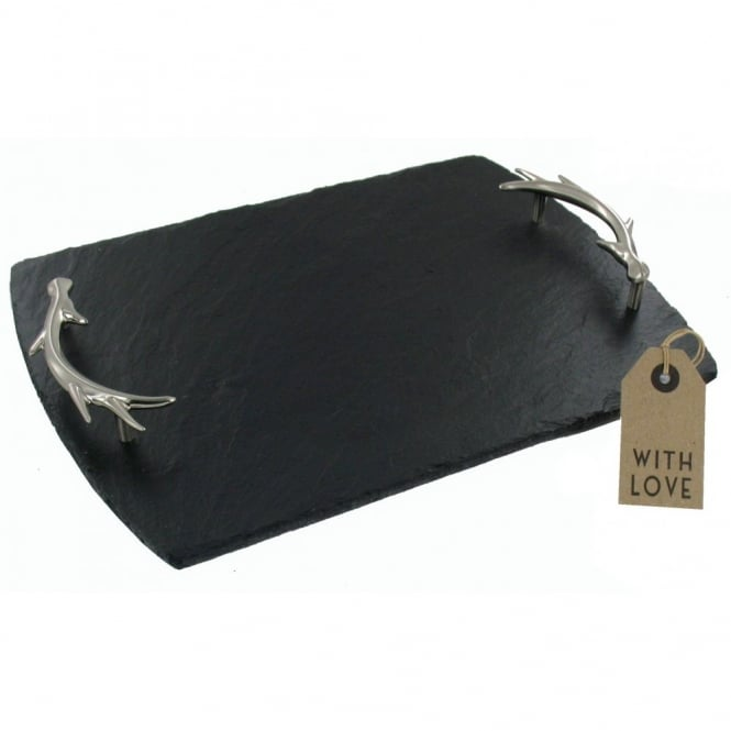Just Slate Slate Serving Tray with Antler Handles - Medium