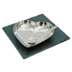 Stainless Steel Heart Dish & Spoon On Slate Base