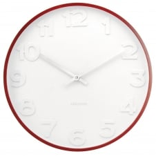 Mr. White Wall Clock with Wooden Case