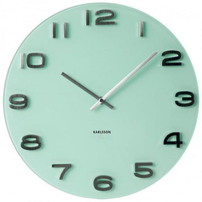 Karlsson vintage glass round wall clock white black for Green wall clocks uk