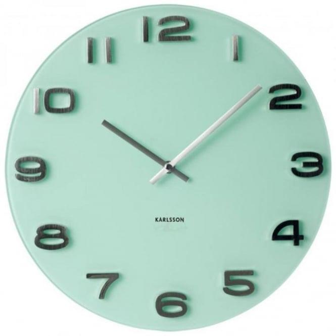 Karlsson vintage glass round wall clock white black for Green wall clocks uk