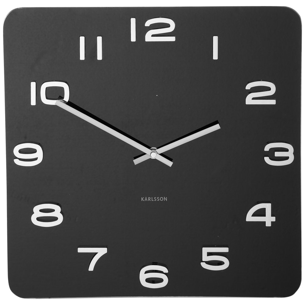 Karlsson Vintage Glass Square Wall Clock Red Black Grey White