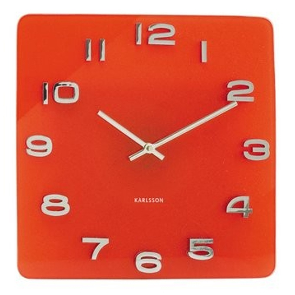 Karlsson Vintage Glass Square Wall Clock Red Black