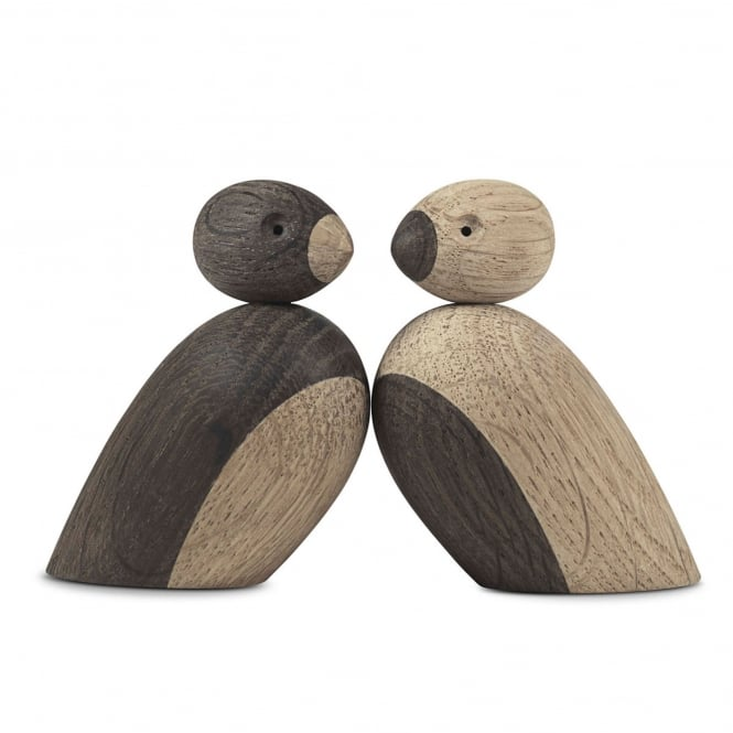 Kay Bojesen Pair of Sparrows - Natural Oak/Smoked Oak