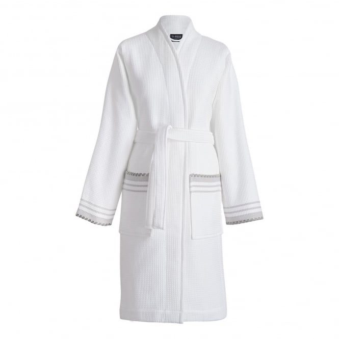 Le Jacquard Français Envol Cotton Bath Robe - White with Pale Grey Trim