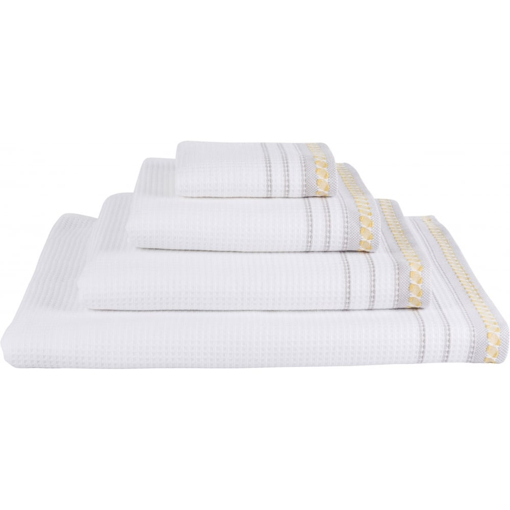 Outstanding Le Jacquard Francais Envol Cotton Bath Towels White With Pale Grey Yellow Trim Complete Home Design Collection Barbaintelli Responsecom