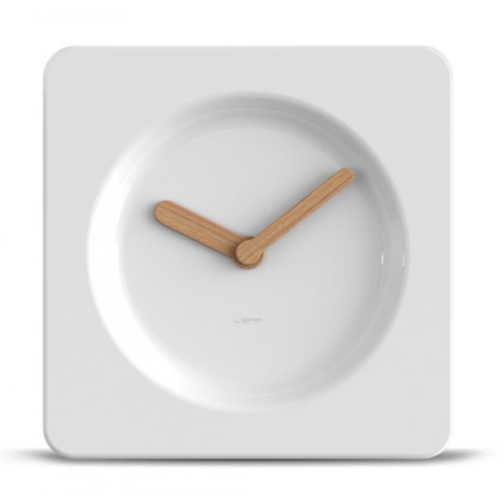 tile walldesk clock 25cm white - Designer Desk Clock