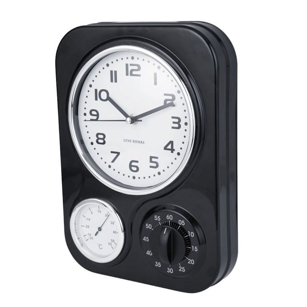Superb Clotille Retro Kitchen Wall Clock U0026amp; Timer   Black