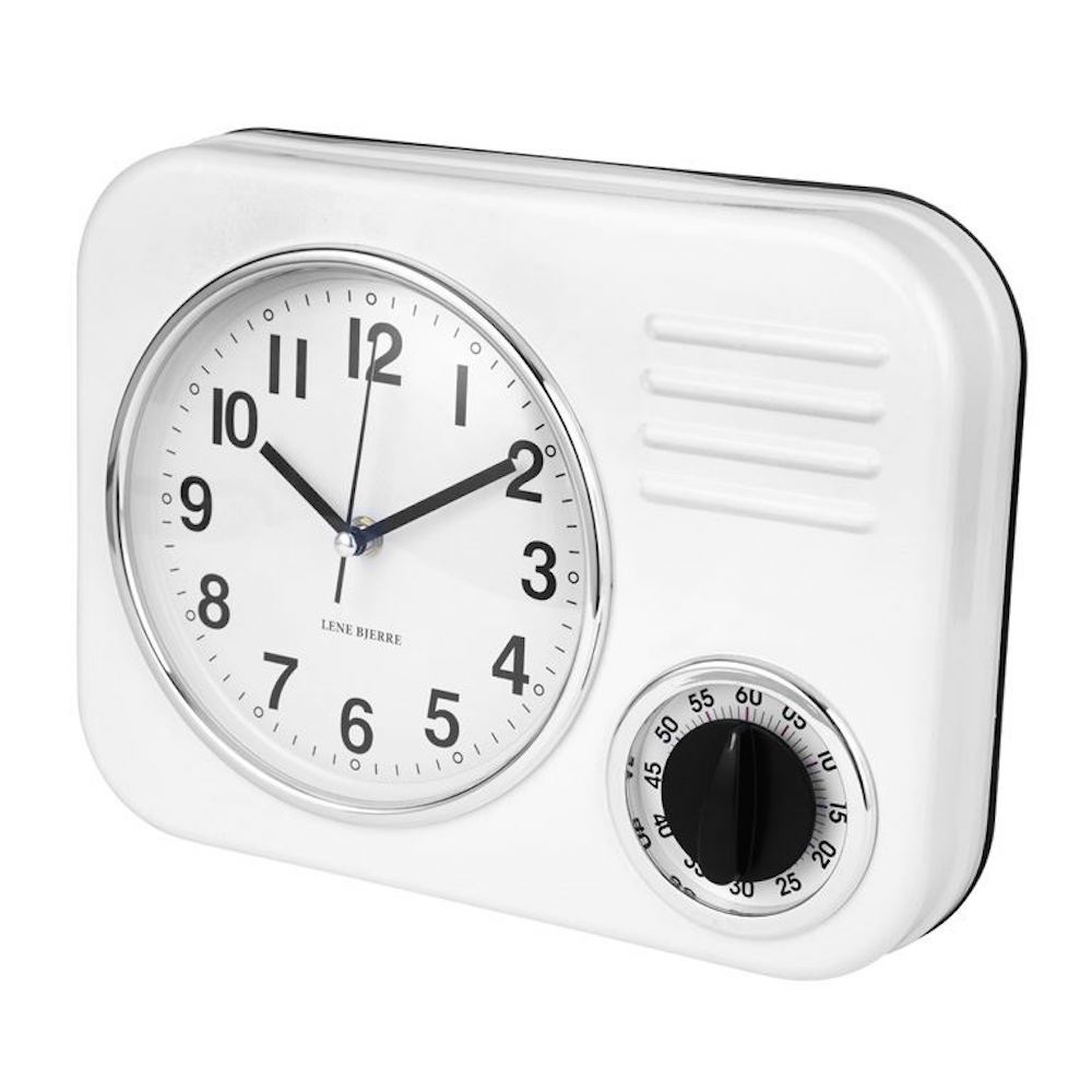 Amazing Clotille Retro Kitchen Wall Clock U0026amp; Timer   White