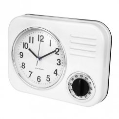 Clotille Retro Kitchen Wall Clock & Timer - White