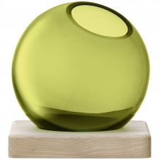 Axis Handmade Glass Vase & Ash Base 14.5cm - Olive Green