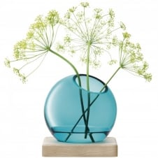 Axis Handmade Glass Vase & Ash Base 14.5cm - Peacock Blue