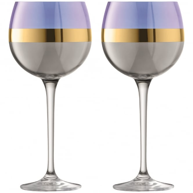 LSA International Bangle Balloon Glasses - Set of 2 - Blueberry