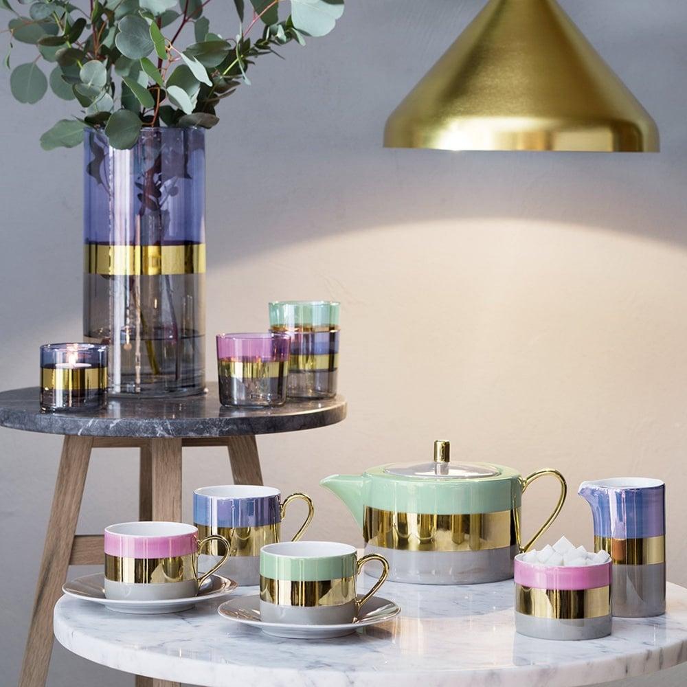 LSA International Bangle Porcelain Espresso Coffee Cup & Saucer Set of 2 Blueberry