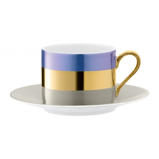 LSA International Bangle Porcelain Teacup & Saucer - Set of 2 - Blueberry