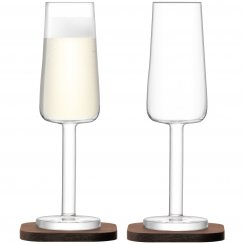 City Bar Champagne Flutes on Walnut Coasters - Set of 2