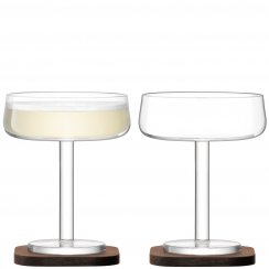 City Bar Champagne Saucer on a Walnut Coaster - Set of 2