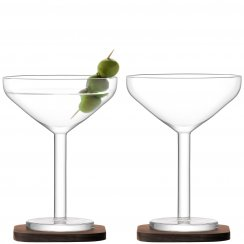 City Bar Cocktail Glasses on Walnut Coasters - Set of 2