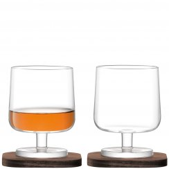 City Bar Cognac Glasses on Walnut Coasters - Set of 2
