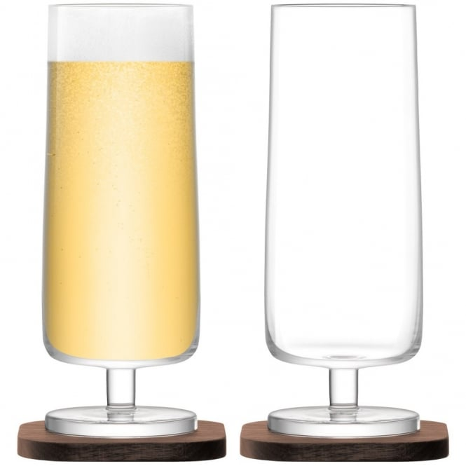 LSA International City Bar Lager Glasses on Walnut Coasters - Set of 2