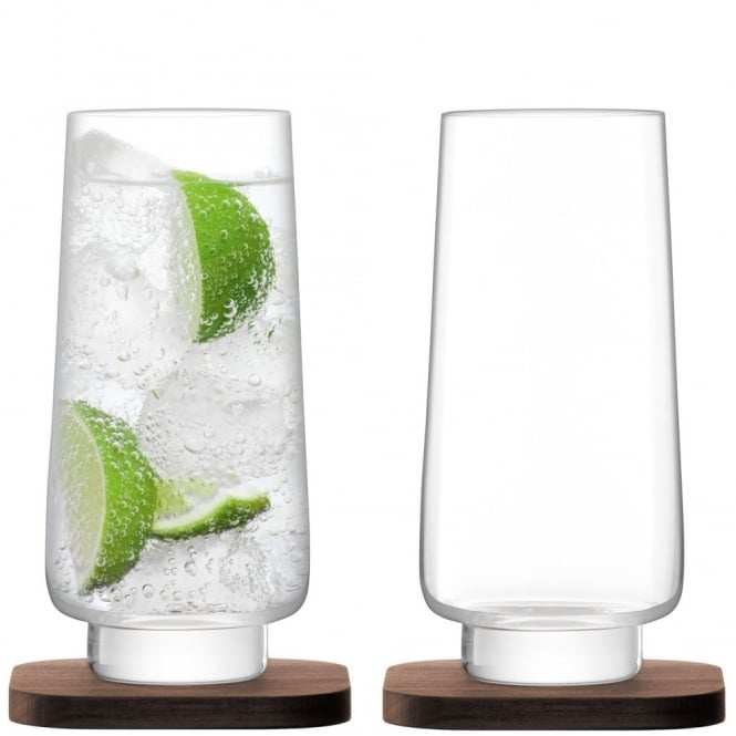LSA International City Bar Long Drink Glasses on Walnut Coasters - Set of 2