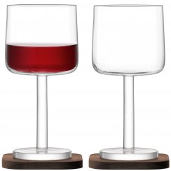 City Bar Red Wine Glasses on Walnut Coasters - Set of 2