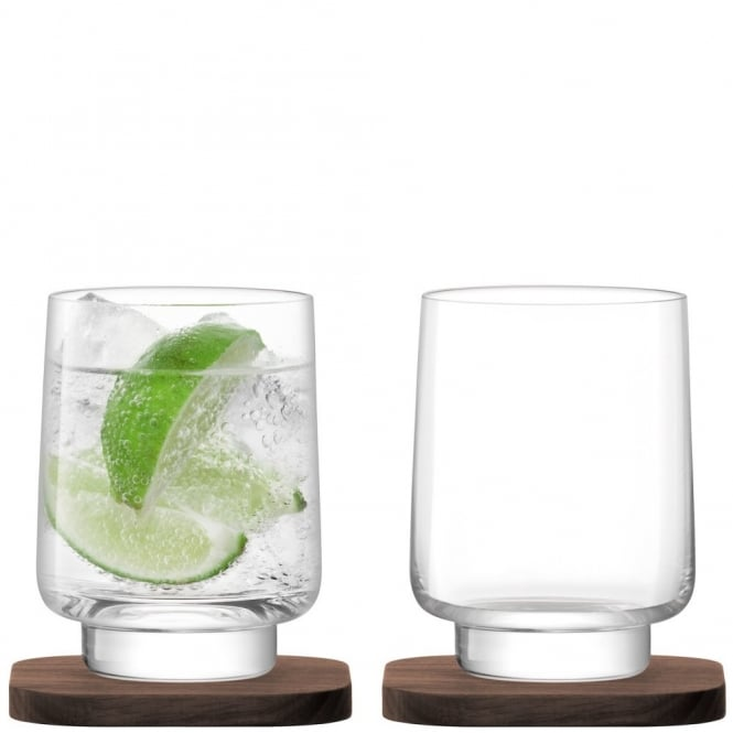 LSA International City Bar Tumblers on Walnut Coasters - Set of 2