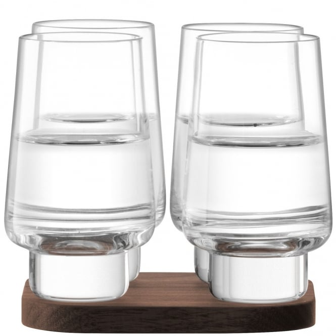 LSA International City Bar Vodka Glasses on a Walnut Coaster - Set of 4