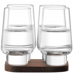 City Bar Vodka Glasses on a Walnut Coaster - Set of 4