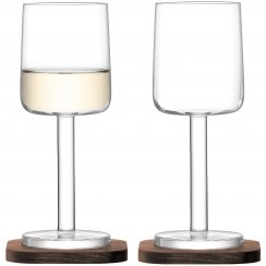 City Bar White Wine Glasses on Walnut Coasters - Set of 2