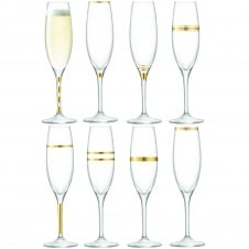Deco Assorted Champagne Flutes - Set of 8 - Gold