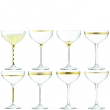 Deco Assorted Champagne Saucers - Set of 8 - Gold