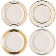 Deco Assorted Dinner Plates - Set of 4 - Gold