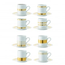 Deco Assorted Espresso Cup & Saucer - Set of 8 - Gold