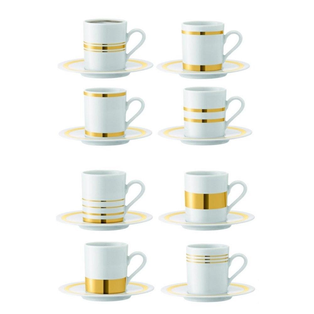 lsa deco espresso cups set of 8 assorted gold black by design