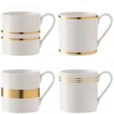 Deco Assorted Mugs - Set of 4 - Gold